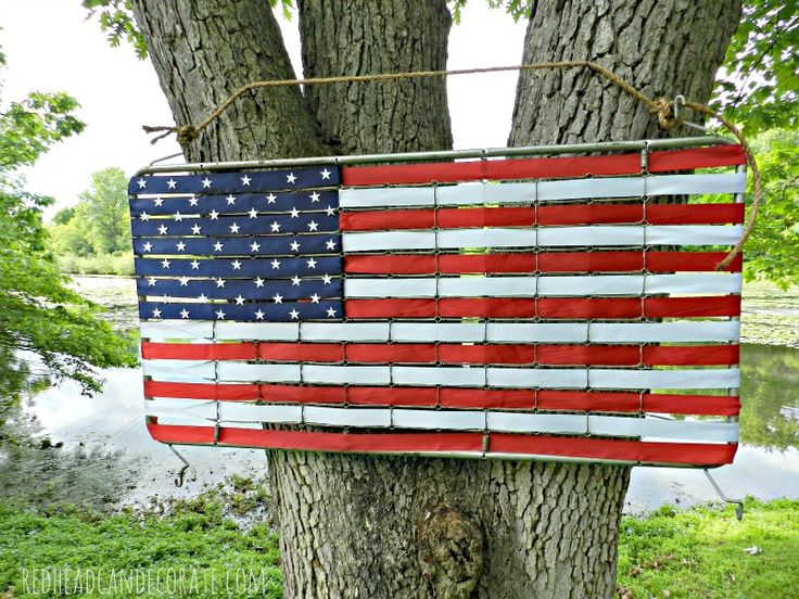 Crib Mattress Spring Turned American Flag w/ Ribbon by redheadcandecorate.com #4th of July #crib upcycle