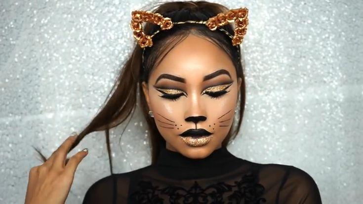 Melly Sanchez Glam Cat #makeup #halloween #halloweenmakeup #mellysanchez #cutcrease #glitter #catmakeup