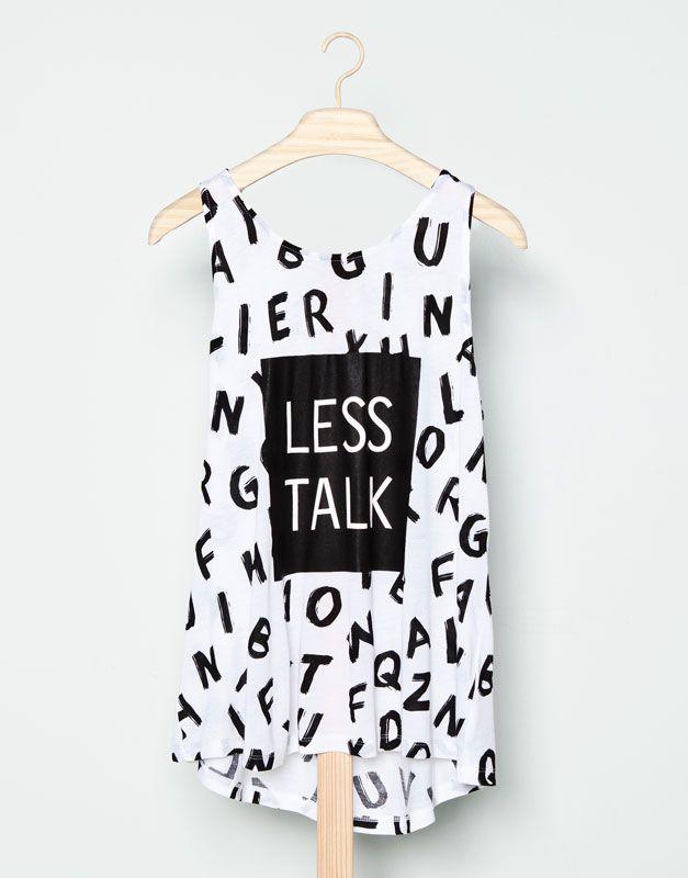Pull&Bear - mujer - camisetas y tops - camiseta print letras - blanco - 09230316-I2014