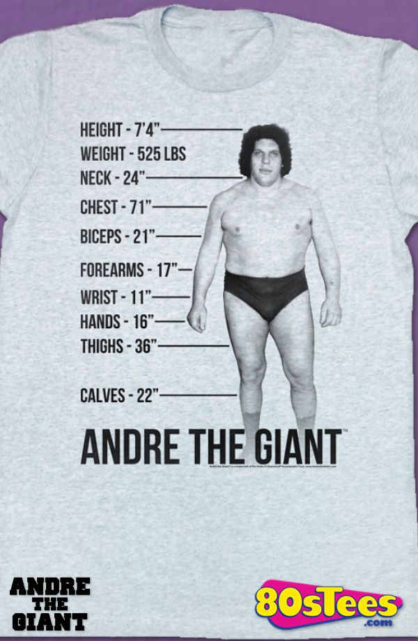 Measurements Andre The Giant T-Shirt: Andre The Giant Mens T-Shirt Geeks:   Enjoy the comfort of home or travel the great outdoors in this men's style shirt that has been designed and illustrated with great art.