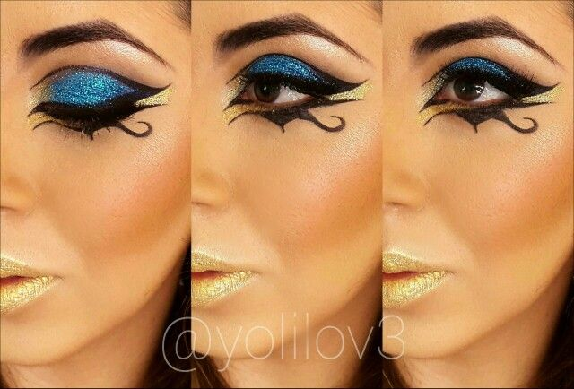 Egyptian Eye Makeup with Glitter