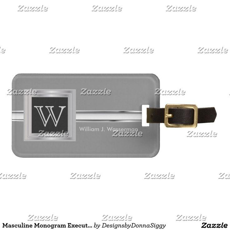 Masculine Monogram Executive Style - Silver Gray