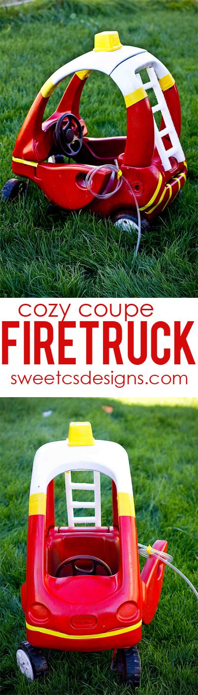 make a cozy coupe into a firetruck at sweetcsdesigns.com - perfect for halloween!