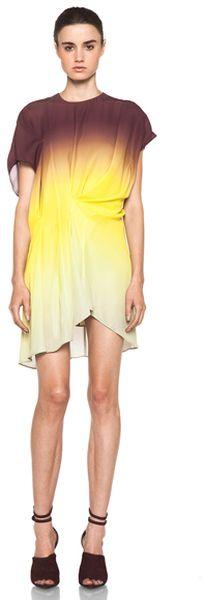 Acne Yellow Alana Degrade Dress in Ombre Tie Dye