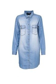 Blå Sisters Point Bines Denim Skjortekjole