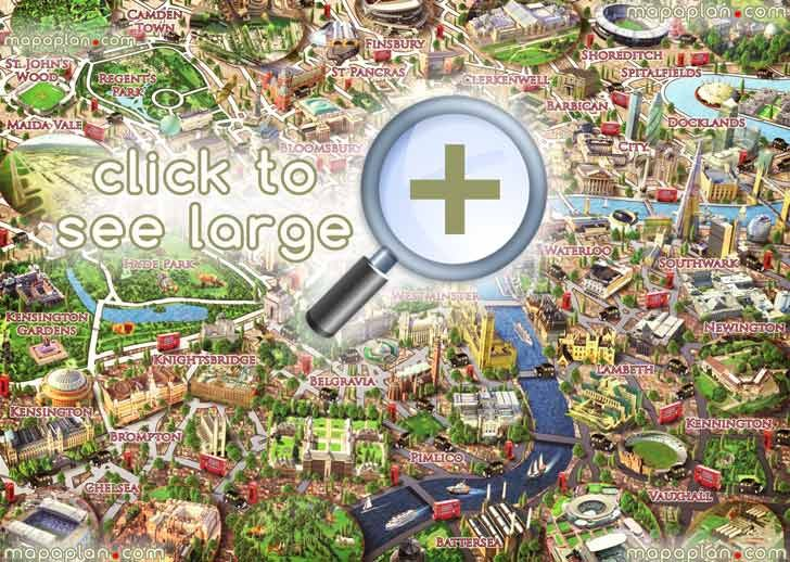 central london neighborhoods graphical colorful 3d puzzle drawing children London Top tourist attractions map