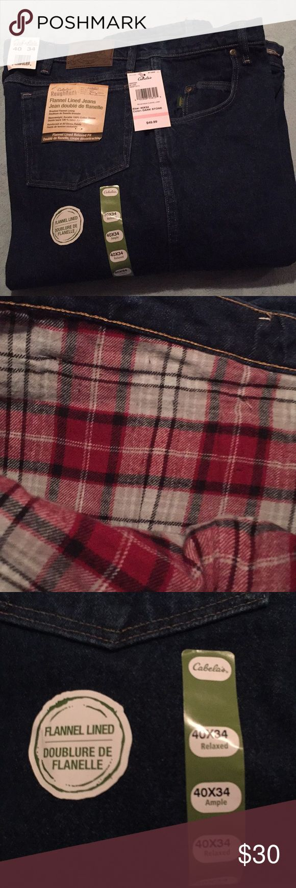 Cabela's flannel lined jeans NWT 40x34 Brand new flannel lined jeans. Great for the cold weather months. 40x34 cabela's Jeans Relaxed