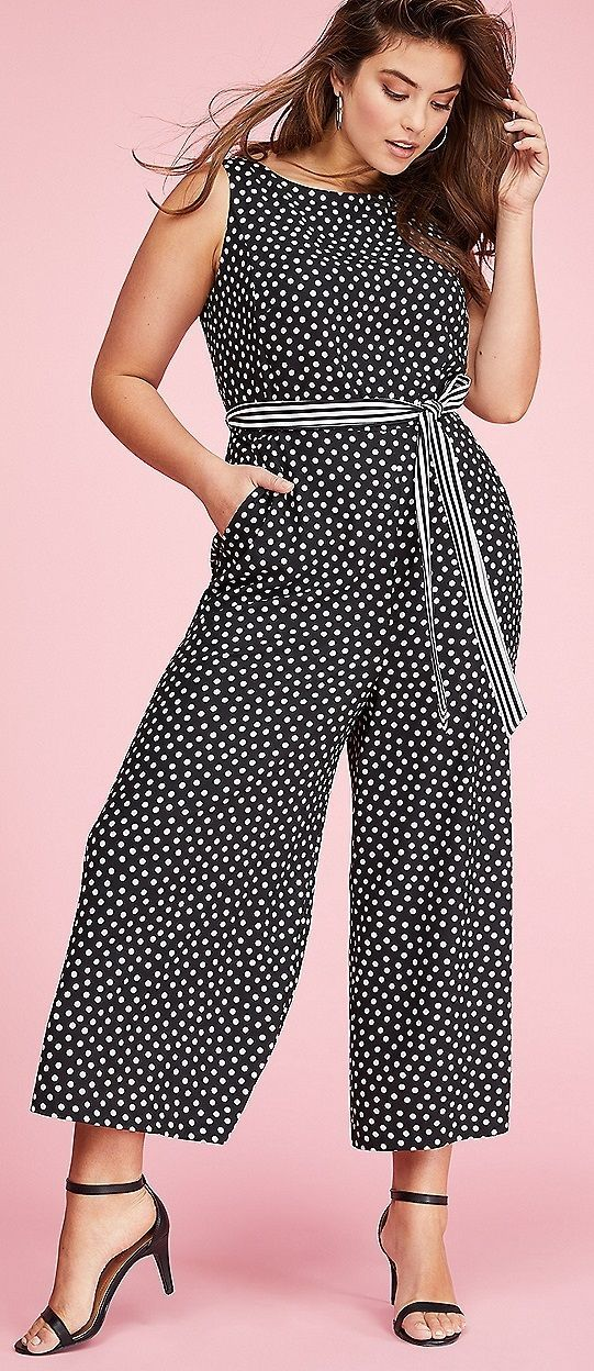 313e4bbf40c Plus Size Polka Dot Jumpsuit