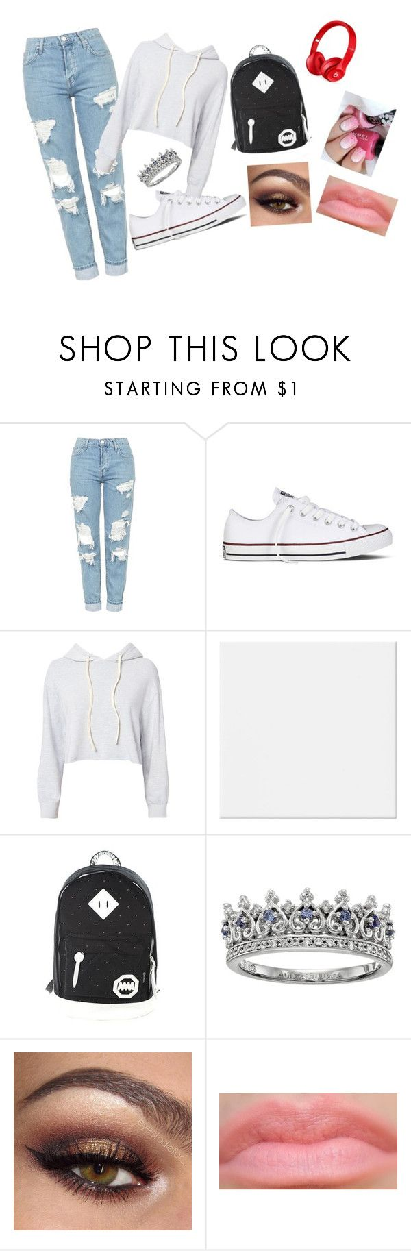 """""""Easy school outfit"""" by gaminggirls120 on Polyvore featuring Topshop, Converse, Monrow, CO, Beats by Dr. Dre and white"""
