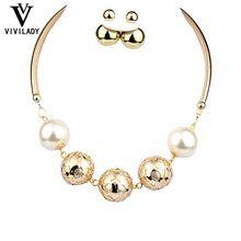 viviLady 2ks / set módní šperky Soupravy Ženy Svatební Pozlacené White Imitace perlový náhrdelník náušnice Doprava zdarma (Čína (pevninská část))