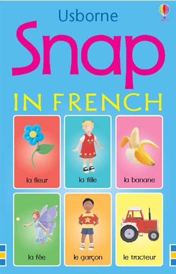 Snap in French  Every child loves playing traditional card games, Snap and Usborne Snap will enrapture very young children, and make a superb gift Delightfully illustrated with Jo Litchfield's hand-made model characters, the cards feature everyday objects such as apples and balloons Look out for other Usborne card games including: Farmyard Tales Snap, Pairs and Donkey