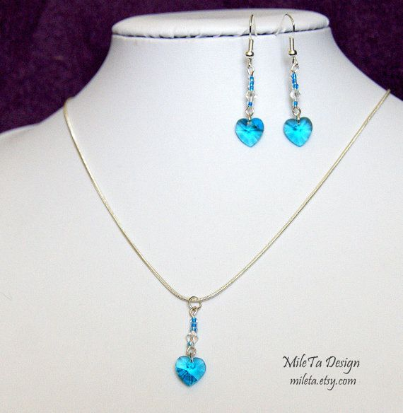 Red or Blue Heart Crystal Necklace and Earrings Handmade by MileTa