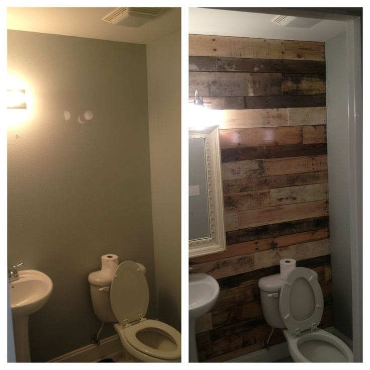 Half bath pallet wall before and after bathroom ideas for Pallet bathroom ideas