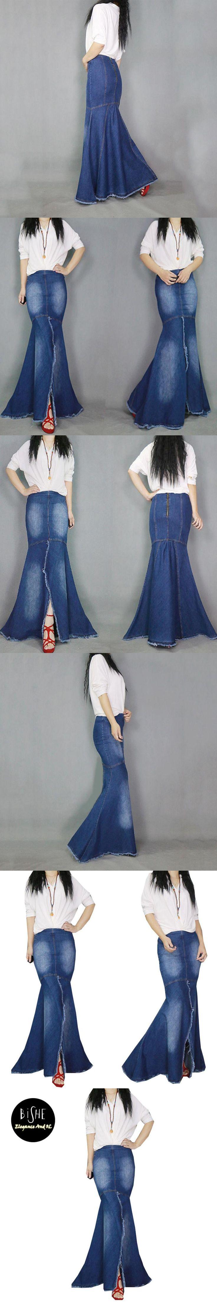 BiSHE High Quality Long Mermaid Skirt Denim Jupe Femme Maxi Saia Longa Jeans Office High Waist 2017 Summer Trumpet Falda