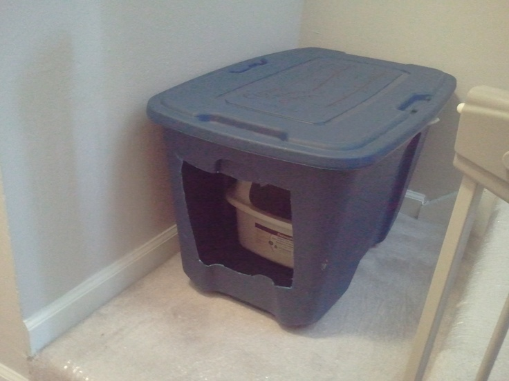 hidden cat box for houses without bacements, garages, or laundry rooms