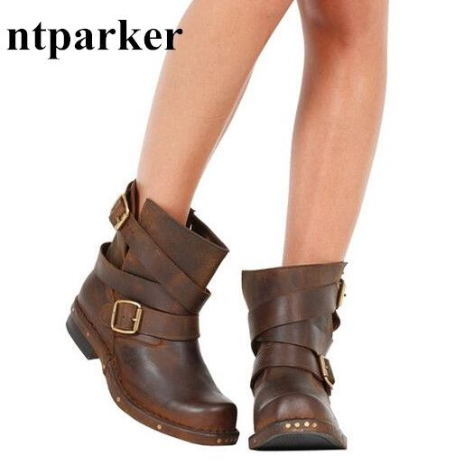 103.60$  Buy now - http://alib4u.shopchina.info/go.php?t=32773307161 - Euro Fashion Women Winter Botas Mujer Vintage Martin Boots Rivets Buckle Sapatos Feminino Size 41 Knight Botas Shoes Woman 103.60$ #bestbuy