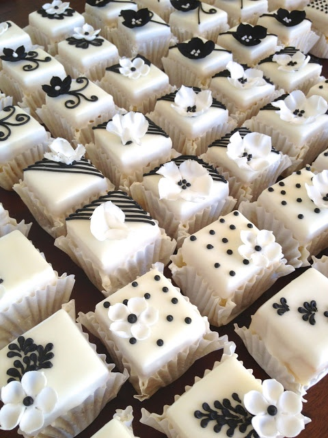 black and white petits fours