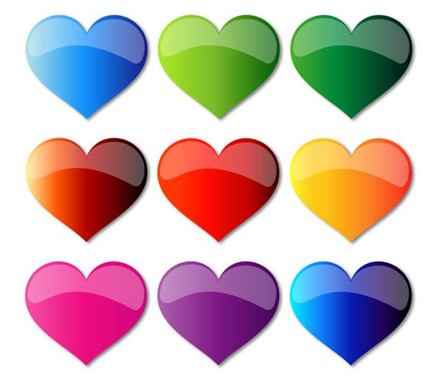 Colorful Glass Hearts Vector