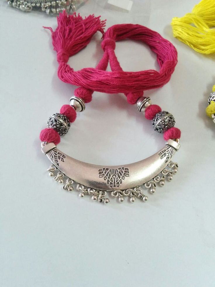 Hand-crafted Red threaded German Silver Necklace