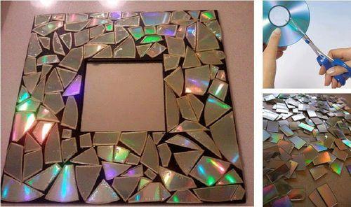 Marco de espejo con CD's reciclados  2