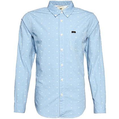 Das hellblaue #Hemd mit #Alloverprint wirkt cool und #trendy ab 59,90€ ♥ Hier kaufen: http://stylefru.it/s350882 #lee #blau
