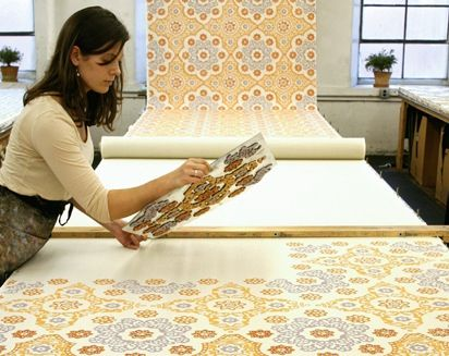 Galbraith and Paul Hand Printed Fabric  block printing using clear glass base - smart