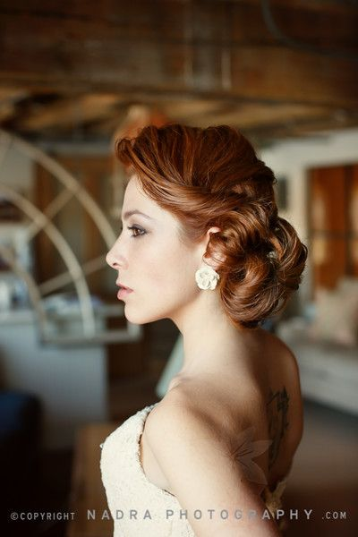 Rustic Vintage Red Beach Country Fall Updo Wedding Hair & Beauty Photos & Pictures - WeddingWire.com