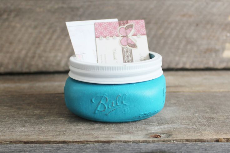 Mason Jar Business Card Holder ~ Sticky Note Holder ~ Office Accessories ~ Desk, Dorm, Office Decor ~ Turquoise Chalk Paint ~ Distressed by MyLilCraftyRoom on Etsy