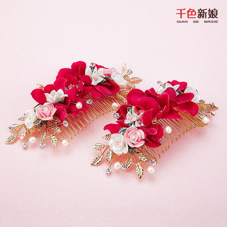 Купить товарВеликолепная золотые волосы комбс цветочный красная роза…