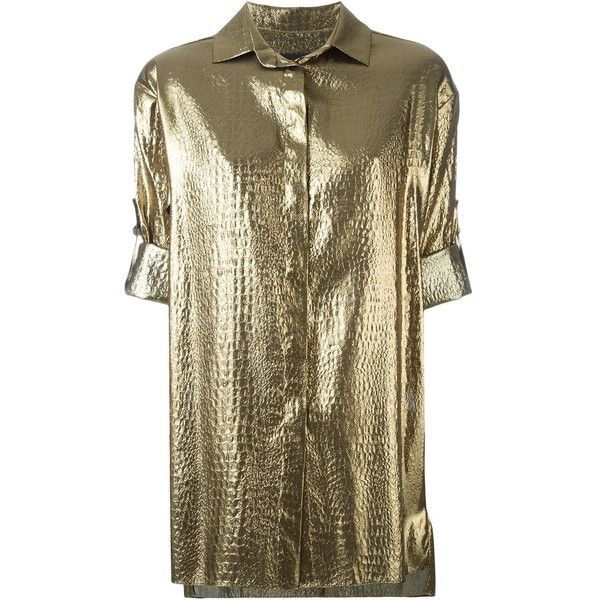 Alexandre Vauthier Metallic Short Sleeved Shirt ($1,085) ❤ liked on Polyvore featuring tops, metallic, short sleeve tops, metallic top, brown shirt, alexandre vauthier and brown tops