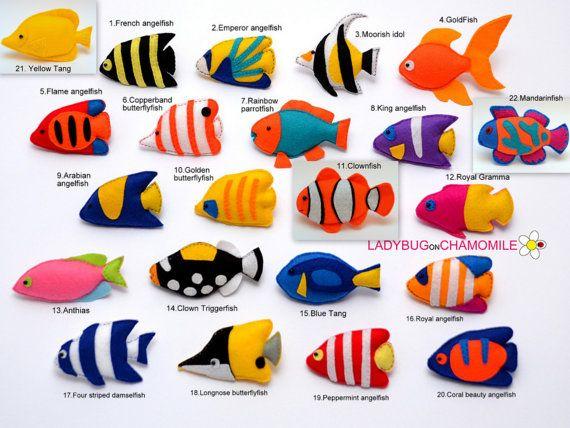 Imanes de fieltro de peces de arrecife CORAL, peces tropicales - precio por 1 artículo - hacer tu propio juego - Tang, pez, pez payaso, pez ángel, peces ballesta,