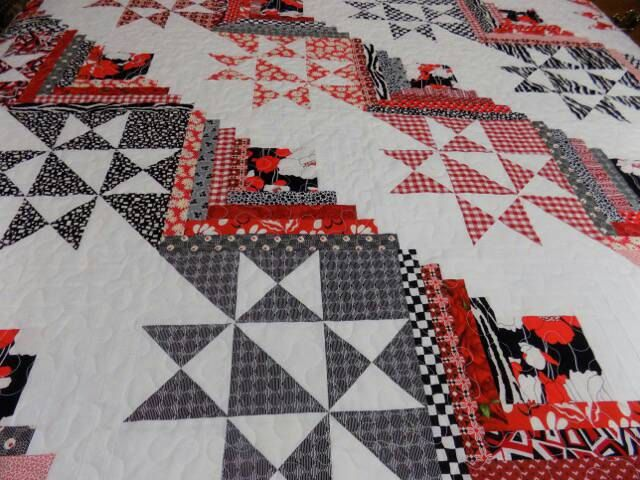 Queen Quilt, Star and Log Cabin, Red, White and Black by PicketFenceFabric on Etsy