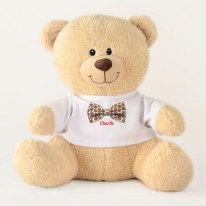 Faux Bow Tie Personalized Teddy Bear - cyo diy customize unique design gift idea