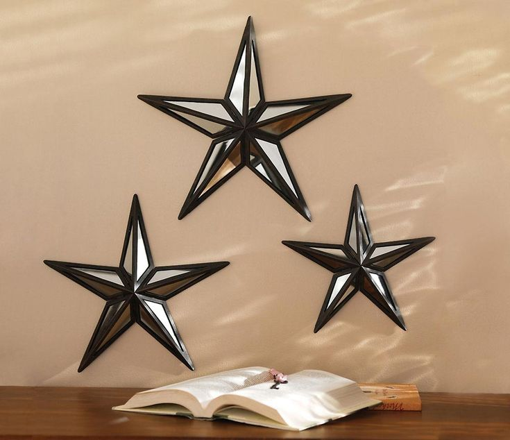 Exceptional Set Of 3 Mirrored Barn Stars W/ Bronze Finish Metal Home And Wall Decor
