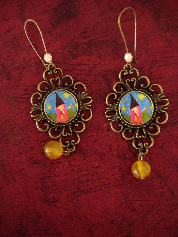 Magic Love  art illustrated earrings with vintage brass by eltsamp, $28.00