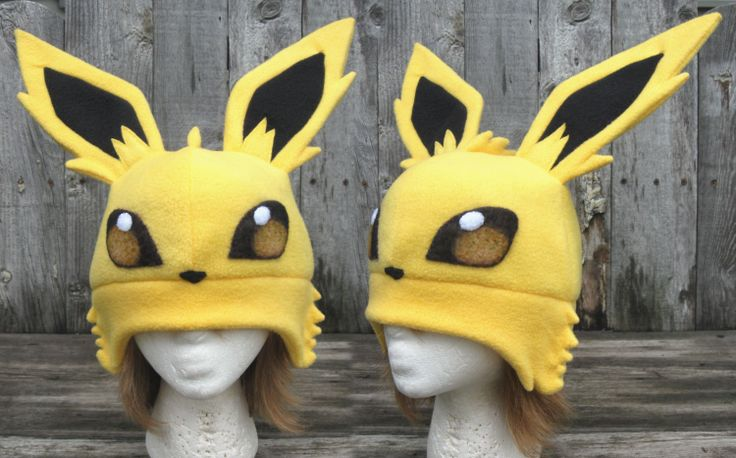 Jolteon Hat by ~clearkid on deviantART.....How cute is this?! :D  I don't know if I could pull it off, but it's cute nonetheless!