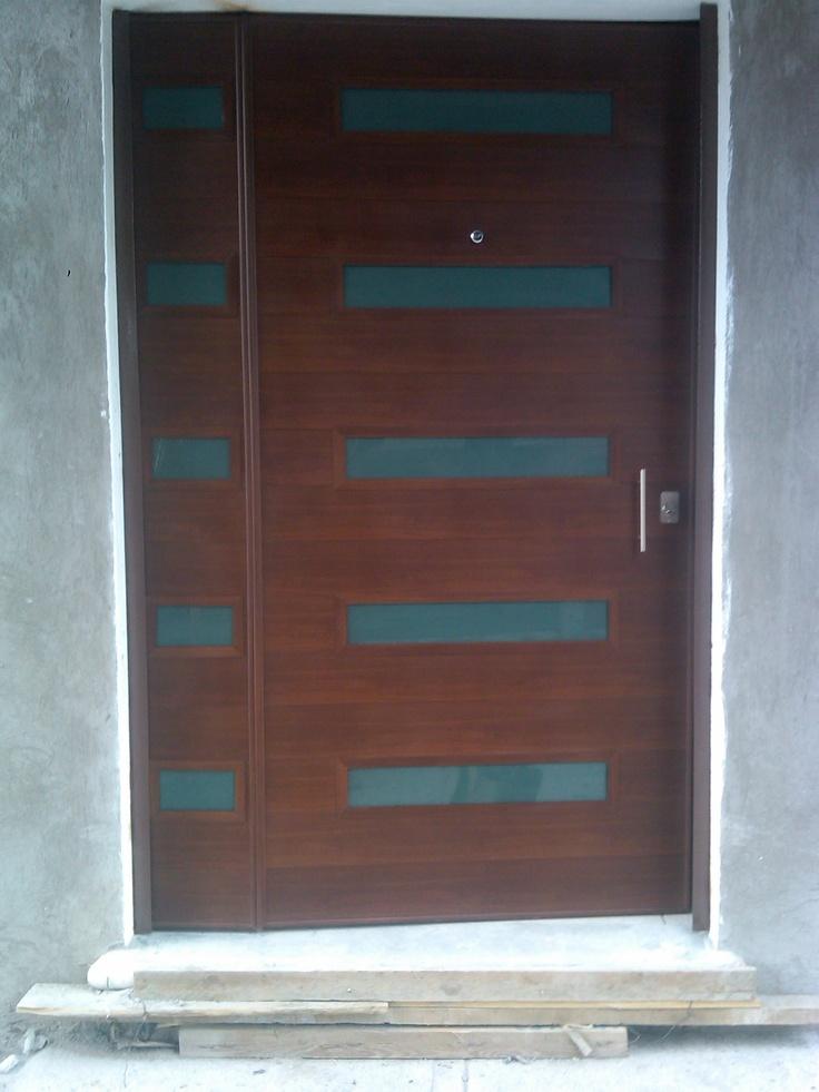 27 best puertas de seguridad exteriores images on - Puertas de aluminio color madera ...