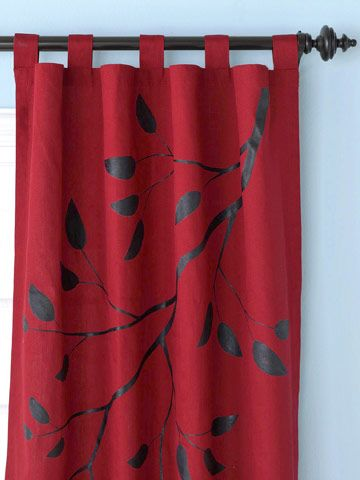 take old curtains or cheap fabric from the store and paint on with fabric paint a design, or glue on buttons in a pattern to make them pop.
