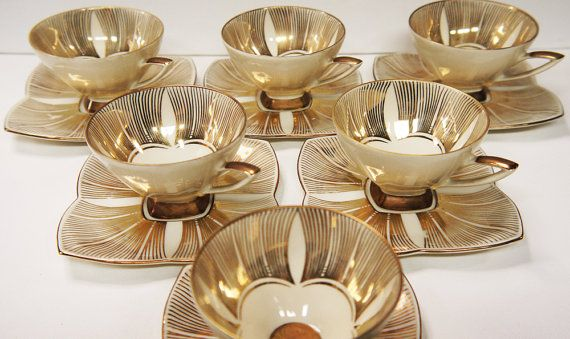 Art Deco Coffee Set Demitasse Cups and Saucers x 6
