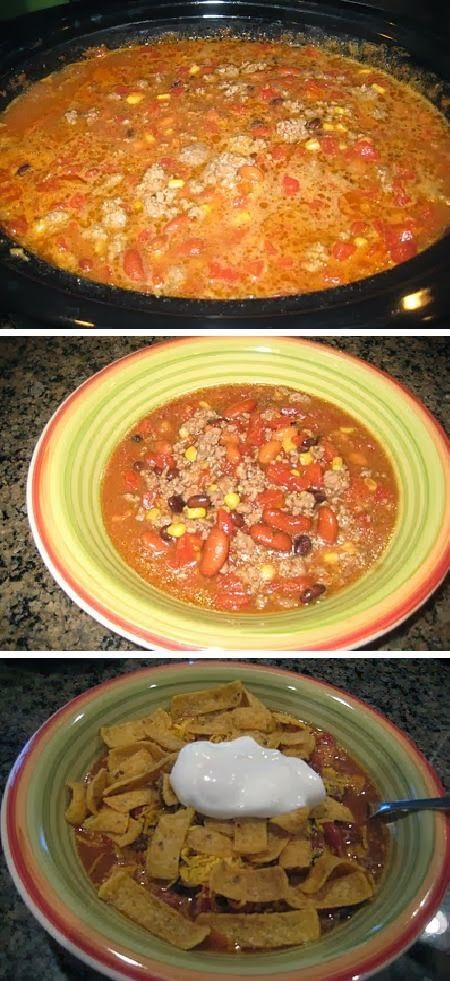 Taco Soup Crock Pot: I can substitute some ingredients. 2 lbs browned ground beef (You are more than welcome to do less, I just think this amount makes it so good!) * 2 packages ranch dressing mix * 2 packages taco seasoning (or 1/2 cup) * 1 can tomatoes and green chilies (10 or 12 oz) * 1 can diced tomatoes (28 oz) * 1 can black beans *1 can kidney beans *1 can pinto beans *1 can shoepeg corn
