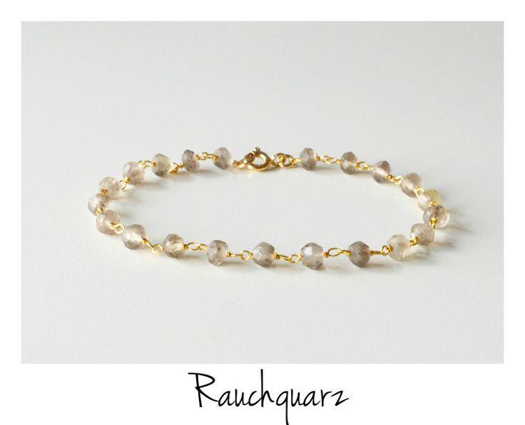 H/W 2015: Rauchquarz Armband vergoldet 925 Silber von miaundmartha  auf DaWanda.com
