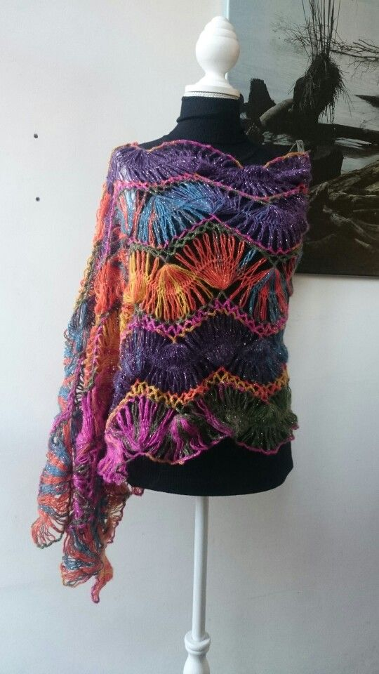 Hairpin lace shawl Www.Facebook.com/MissBackxels