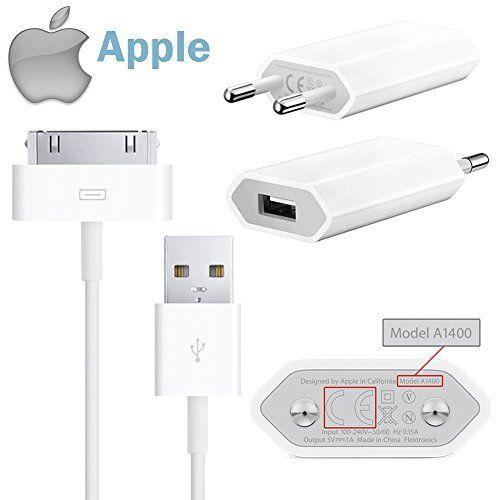 cool Apple MD813ZM/A A1400 - Conectores para iPhone 4s, 4, 3Gs y 3G y iPod Shuffle Touch (5W, cable USB, enchufe de alimentación y cable de datos MA591)