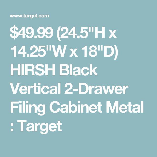 "$49.99 (24.5""H x 14.25""W x 18""D) HIRSH Black Vertical 2-Drawer Filing Cabinet Metal : Target"