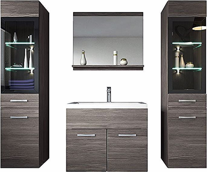 Meuble De Salle De Bain Rio Xl Led 60 Cm Lavabo Bodega Gris Armoire De Rangement Meuble Lavabo Badplaats Bathroom Vanity Vanity Single Vanity