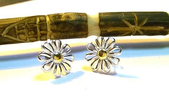 Sterling Silver 14Kt Gold Flower Earrings Flower by MoodTherapy