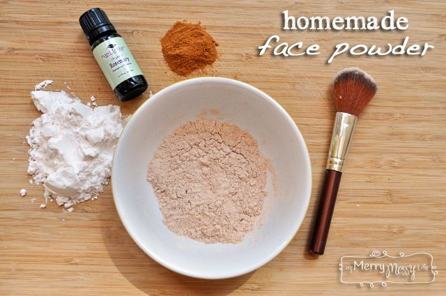 Homemade Face Powder Foundation. 2 tbsp of cornstarch or arrowroot powder Start with 1½ tsp cinnamon, nutmeg or cocoa powder, add more as necessary 5 drops of an essential oil for your skin type or a carrier oil like jojoba or sweet almond, more if you want pressed powder,  Prep time - 3 mins Total time - 3 mins