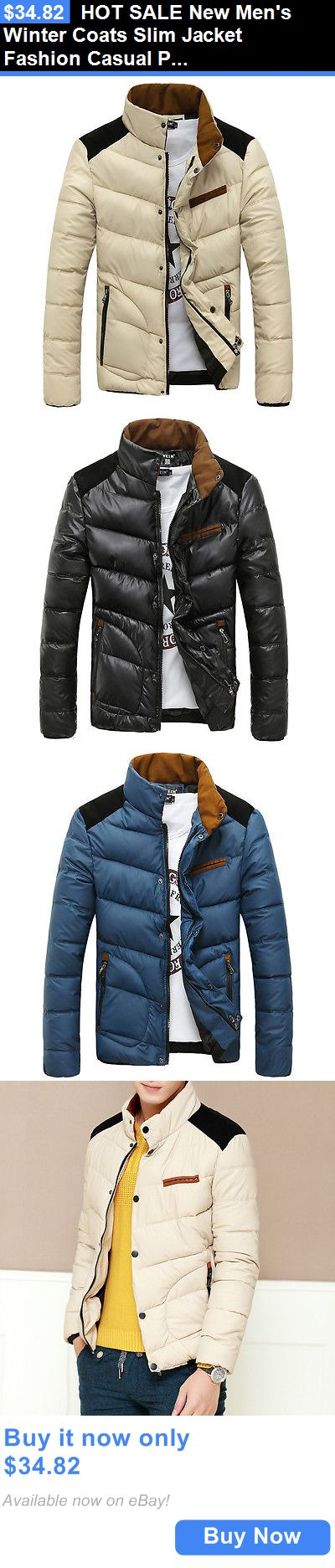 Men Coats And Jackets: Hot Sale New Mens Winter Coats Slim Jacket Fashion Casual Padded Collar Coat BUY IT NOW ONLY: $34.82