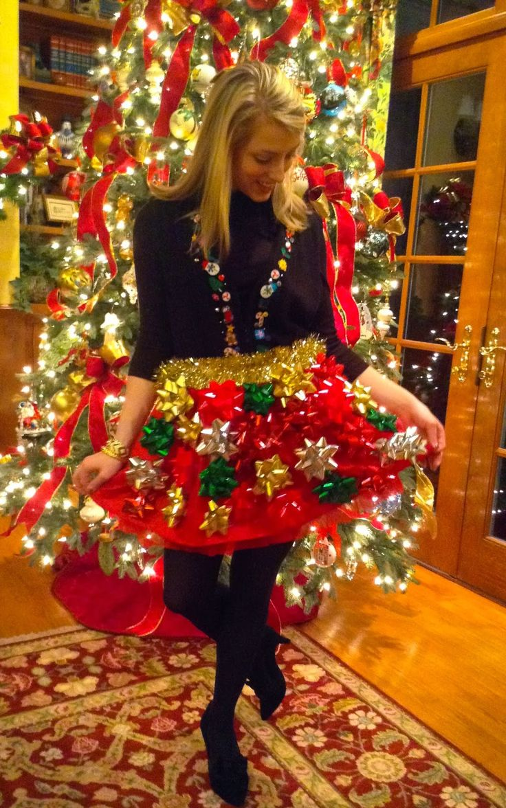 Christmas bow skirt for a tacky Christmas party.