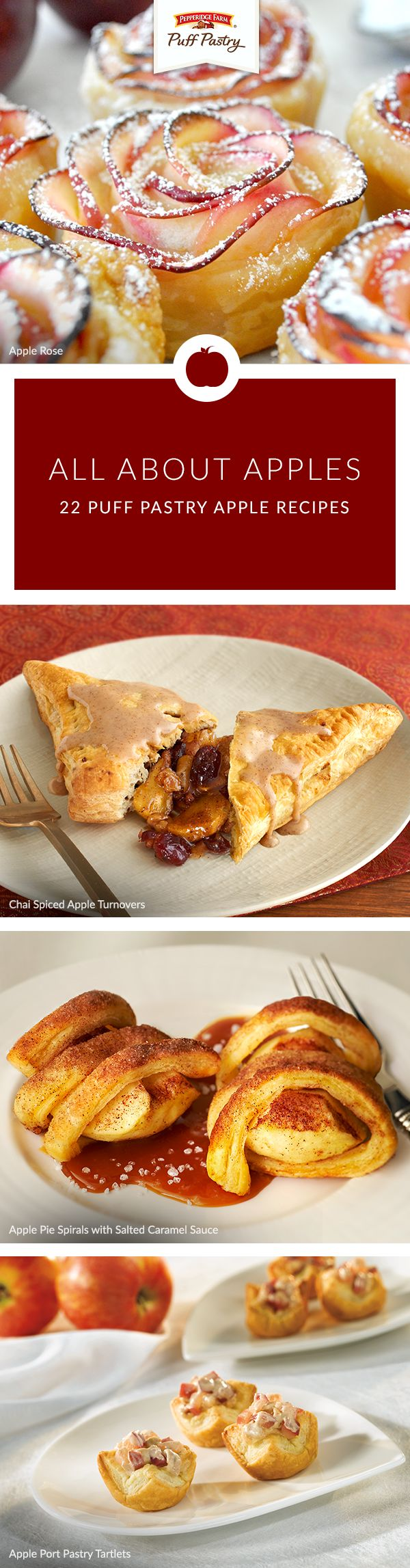 Nothing is better than fresh apples. Give them the love they deserve with these fantastic Puff Pastry apple recipes. Turn those turnovers up a notch with Chai Spiced Apple Turnovers, decorate the dinner table with Apple Roses or try a twist on apple pie with our Apple Pie Spirals with Salted Caramel Sauce.
